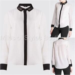New-Ex-M-amp-S-Ivory-amp-Black-Chiffon-Long-Sleeve-Blouse-Size-10-22