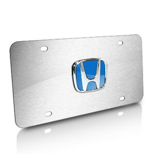 Image Is Loading Honda Blue Logo Brushed Stainless Steel License