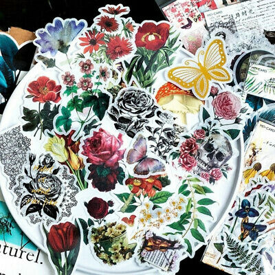 60 PCS Phone Decor Label Diary Paper Sticker Scrapbooking Green Plants Stickers