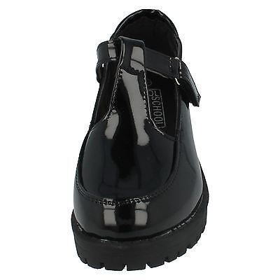 Girls Black Cool 4 School T-Bar Matt or Patent Shoes H3069
