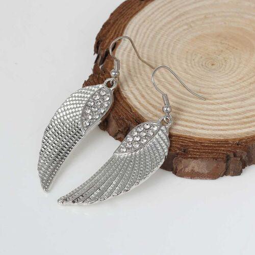 Ohrringe Silber Flügel Feder Indianerschmuck Strass Ohrstecker Damen Neu