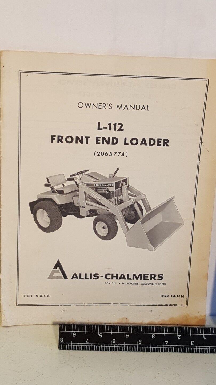 Allis Allis Allis Chalmers L-112 Front End Loader Owners Manual ae8330