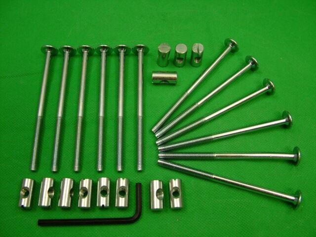 Bed / cot bolts 12 sets of M6 x 100mm bolt, allen key & 20mm barrel nut=25 items