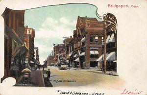 Main-Street-Bridgeport-Connecticut-Very-Early-Postcard-Unused