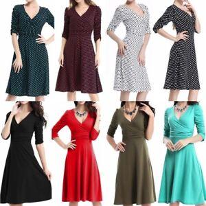 Women Wrap V Neck Dress Elegant Work