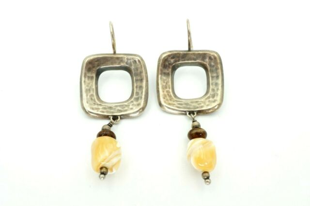 Silpada Sterling Silver Mother of Pearl Bronzite Hammered Square Earrings W1518