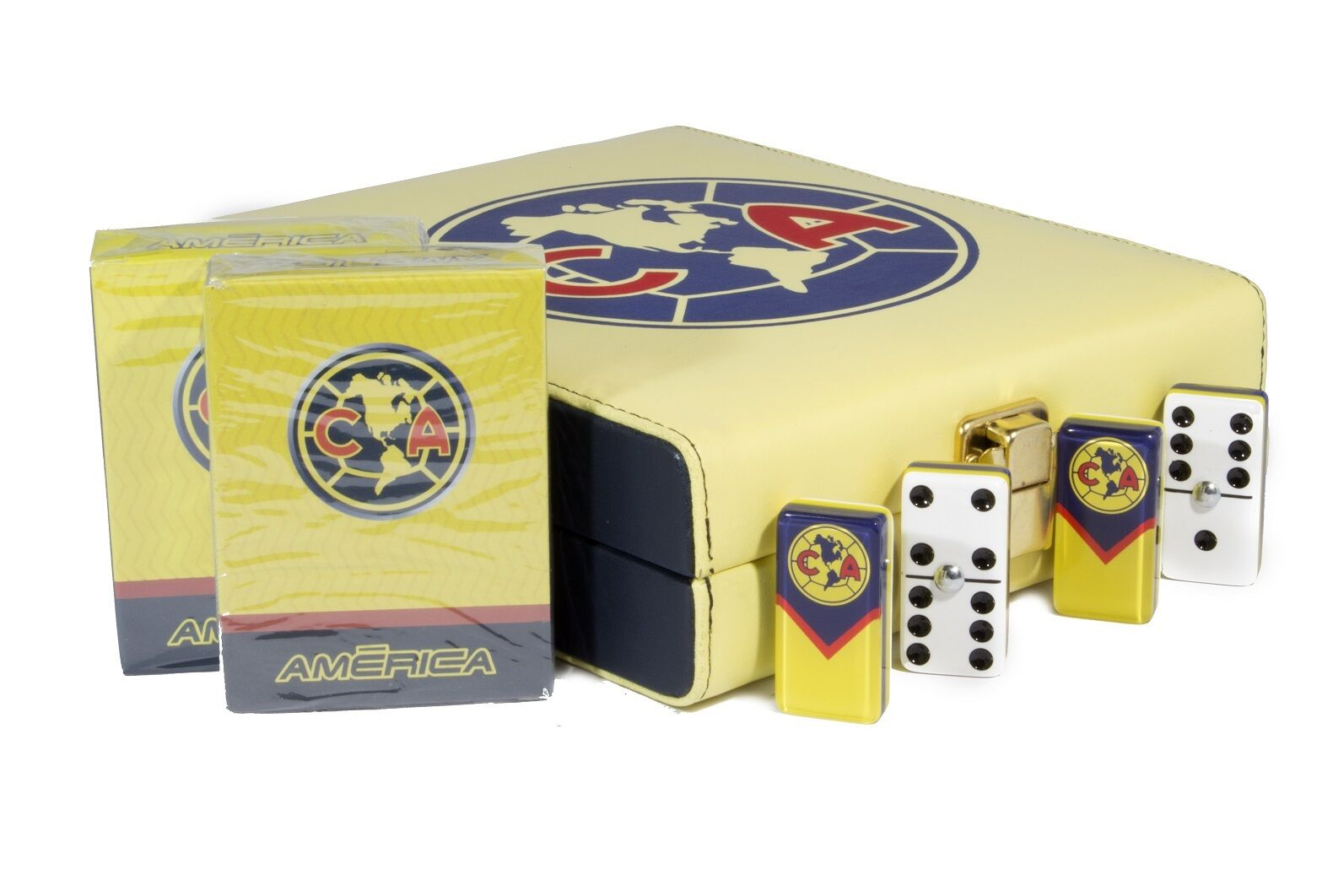 Aguilas Club America Deluxe Set 2 Games  Domino, 2 Poker Cards