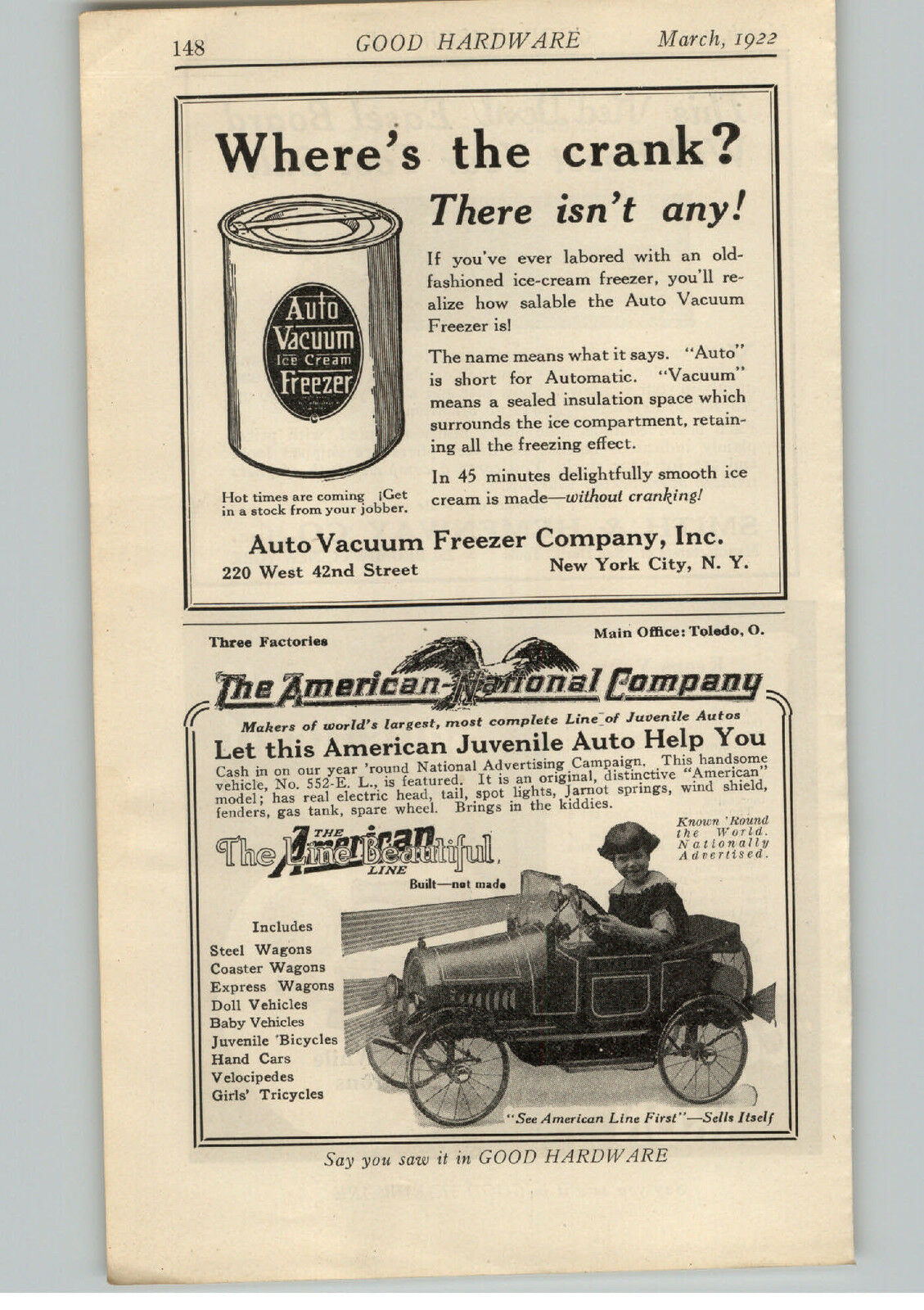 1922 PAPER AD American National Juvenile Vehicle Pedal Car Comfort ...
