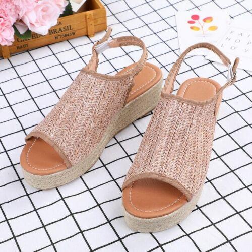 Plus Size Buckle Strap Rubber Knitted Women Hemp Sandals Wedge Heels Comfortable