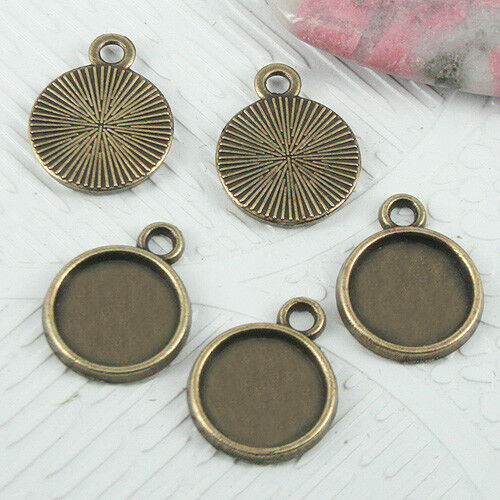 26pc  antiqued bronze color round cabochon settings INNER SIZE 10mm  EF0714