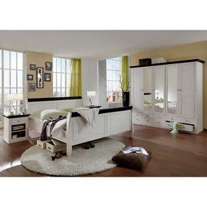 Schlafzimmer Monaco Schrank Bett Nakos Kiefer massiv white wash und ...