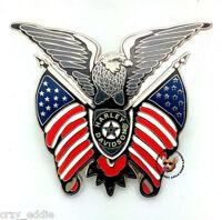 Harley Davidson Eagle And Usa Flags Vest Pin Patriotic Item Biker