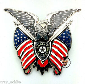 harley davidson eagle and usa flags vest pin patriotic ** new item
