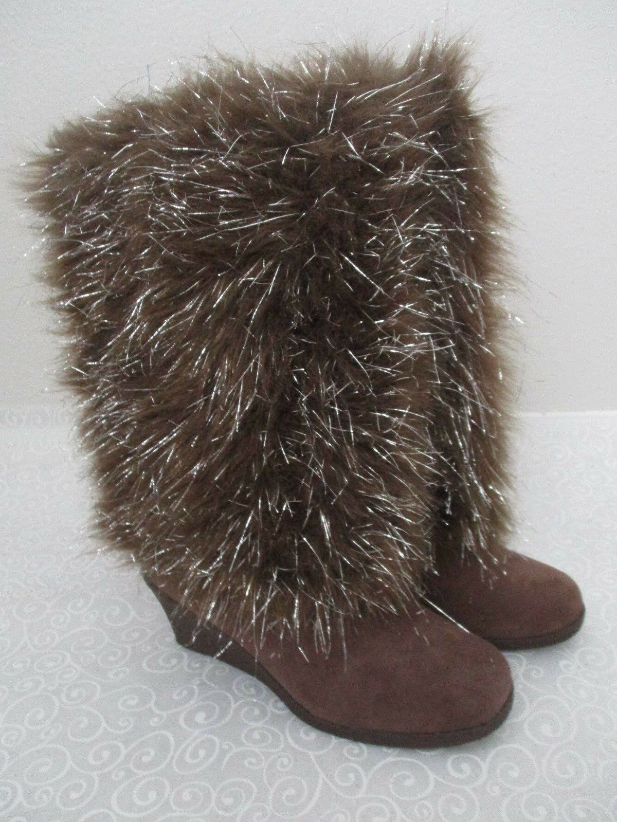 JOAN BOYCE marron & argent ICICLES KNEE HIGH HIGH HIGH FAUX FUR WEDGE bottes Taille 10 M - NEW 36f157