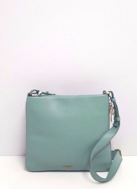 01ddc4ff8 Fossil Satchel Medium Leather Top Zip Preston Messenger Handbag (Sea Glass)