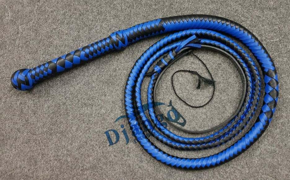 4 piedi to12 FRUSTA 12 TRECCIA Top in cuoio in pelle Heavy Duty FRUSTA Blu & Nero