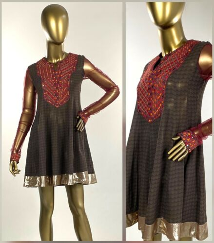 NWT Ritu Kumar Embroidered Mirrored Sheer Sleeve Cotton Kurti Tunic Top Sz S - M