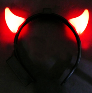 LED-Green-RED-Blue-LIGHT-UP-Devil-HORNS-Head-Band-Costume-Accessory-Non-Flashing