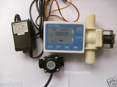 "Solenoid valve Power Adapter G3//4/"" Water Flow Control LCD Display+Flow Sensor"