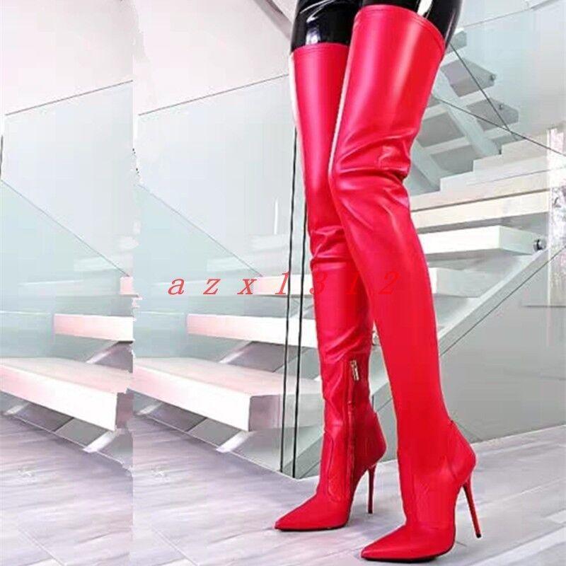 Mujeres Puntera Puntiaguda Muslo Alto Tacón Stiletto Zapato De Arranque Cremallera Cuero Sexy Moda Nuevo
