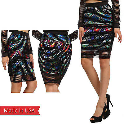 New Aztec Colorful Print Dot Cut Out Layered Fitted Pencil Skirt USA Size Medium