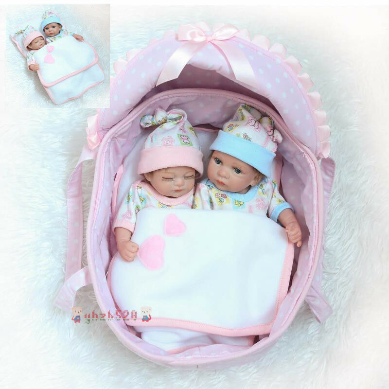 Silicone Lifelike Baby Doll 10  Preemie Bebes Reborn Twins Boy And Girl Doll Toy