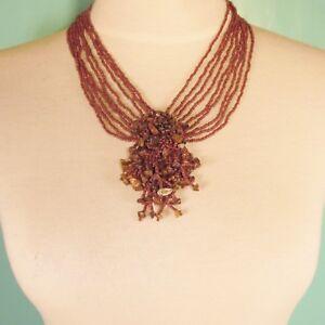 16-034-Brown-Tigers-Eye-Gemstone-Chip-Cluster-Handmade-Seed-Bead-Bali-Necklace