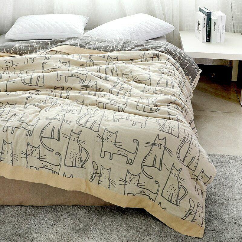 Bambus Cartoon Katze Aufdruck Decke Weich Bettdecke Bettlaken Haus Zimmer Schlaf