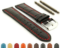 Mens Extra Long Genuine Leather Watch Strap Band Croco Stainless Steel Buckle
