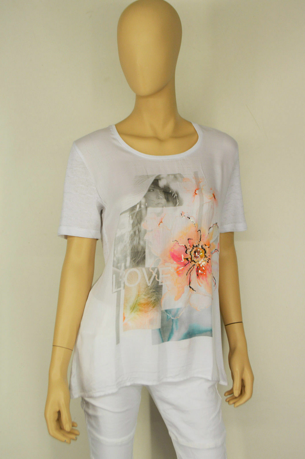 Gerry Weber casual, alla moda, 1 2 Braccio Camicia in Bianco con stampa fotografica, taglia selezionabile