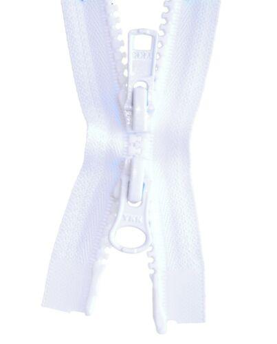 u.ä. 2 Wege Reißverschluß Kunststoff 5 mm weiß 50-100 cm für Jacken