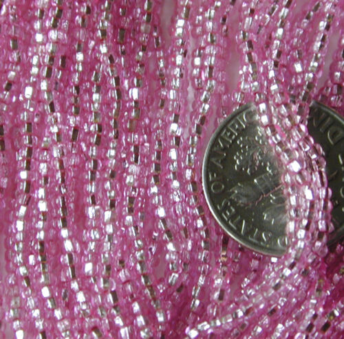 Champagne Pink Silvery Vintage Long SL Czech glass Hank 110 Seed Beads 261803
