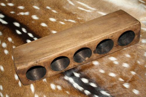 5 Hole Wooden Sugar Mold Wood Candle Holder Primitive Lot of 3