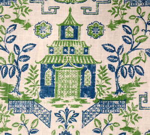 Asian Print Linen Fabric Blue Green Asian Toile Upholstery Fabric