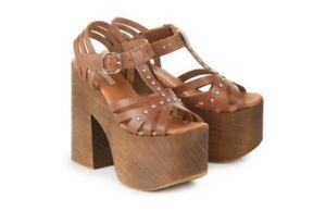 Details Bequem Vintage Gr Zu Uk3 Leder 36 5 Echt Sandalette Sehr Plateau Buffalo Braun rQtdsh