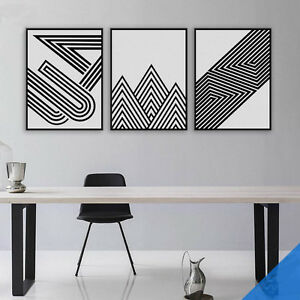 Details About Geometric Stripes Triangles Mountains Pattern Wall Art Canvas Painting Picture