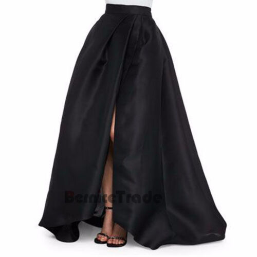 Black Split Skirts Long Maxi Womens Satin Prom Evening Party Celebrity Skirt