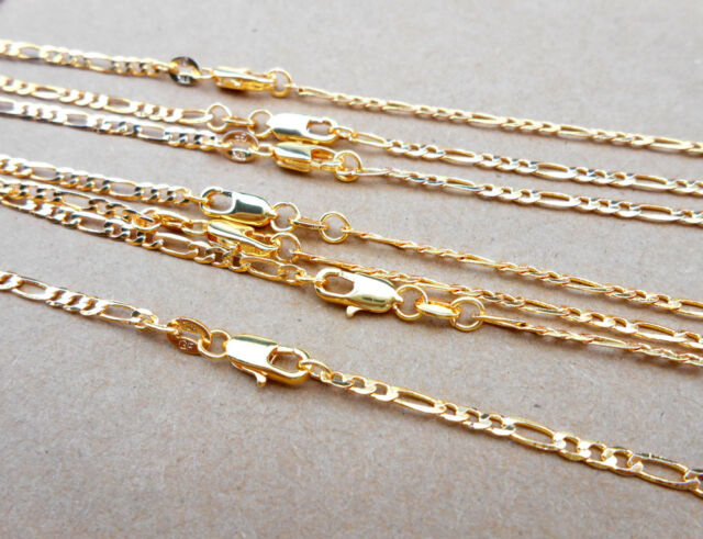 1pcs 16-30 Inches Mens 18K Gold Filled 2.5mm Italian Figaro Link Chain Necklace