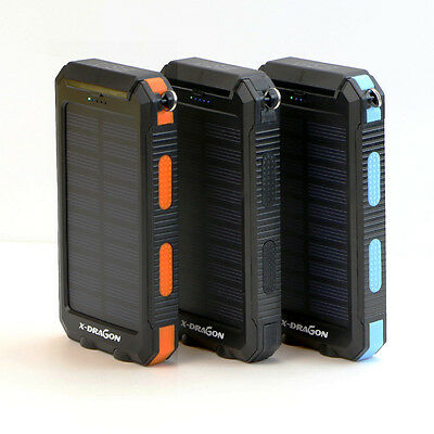 Waterproof 300000mAh Solar Power Bank 2USB Battery Portable Charger for Phones