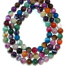 """GR2117j Assorted Mixed Color Striped Agate 8mm Round Gemstone Beads 15"""""""