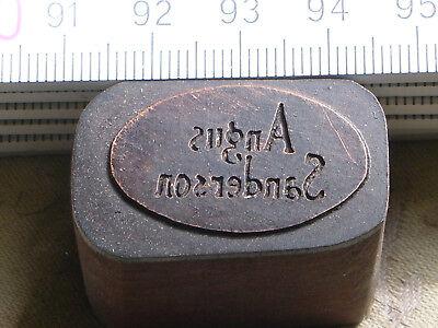 Impartial Agnus Sanderson Logo Schöner Oldtimer Stempel / Siegel Aus Metall