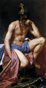 Oil painting Diego Velazquez - Mars, God of War nude naked gay male portrait 36""