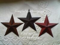 3 Primitive Barn Stars, Rust Black Burgundy Metal 7 3/4 Wide Point To Point