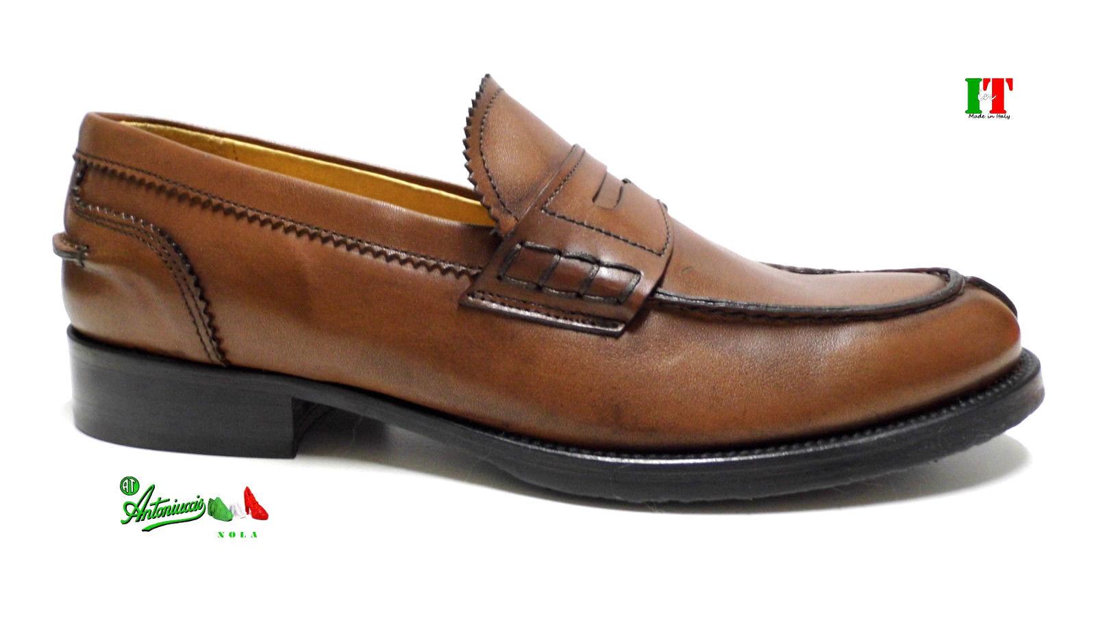 Scarpe trendy uomo mocassini marrone college VERA PELLE MADEinITALY 380 marrone mocassini italiane e406a2
