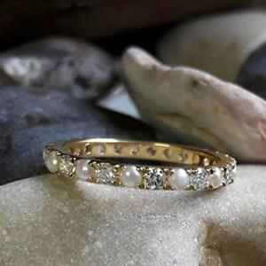 14k-Yellow-Gold-Over-1-CT-Brilliant-Cut-Pearl-Eternity-Diamond-Promise-Band-Ring