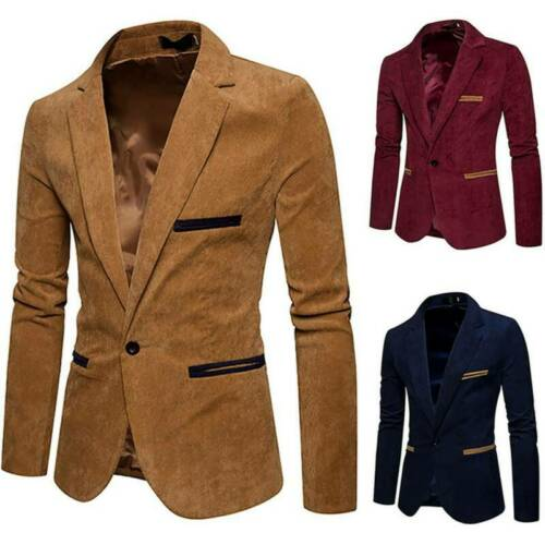 Luxury Business Men/'s Blazer Jacket Slim Fit Tops Suit Tuxedo One Button Coat