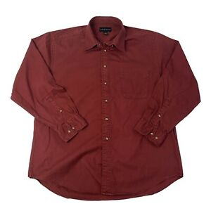 Croft-amp-Borrow-Mens-Size-Large-Red-Maroon-Long-Sleeve-Button-Front-Shirt