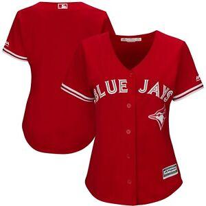 Toronto-Blue-Jays-Women-039-s-S-XL-2XL-Majestic-Replica-Jersey-Scarlet-Red-MLB