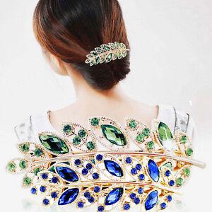 sito affidabile c05ac 6013a Dettagli su Fermaglio Foglia accessori capelli clip strass acconciatura  fermacapelli donna