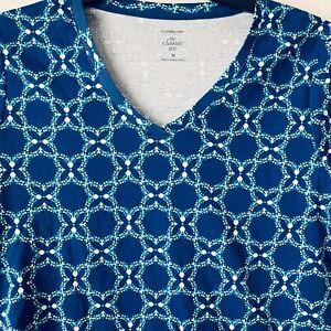 Croft-amp-Barrow-Blue-Classic-Tee-NWT-Womens-100-Cotton-Short-Sleeve-V-Neck-Top